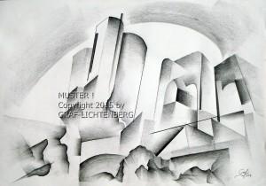 0066 Burg Rheinstein abstrakt 60 x 40