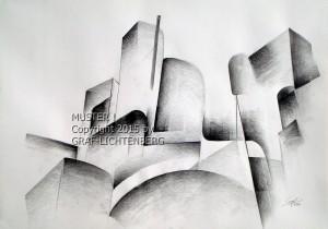 0067 Burg Rheinstein abstrakt 2 - 60 x 40