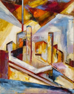 0069 Burg Rheinstein Kubistisch 2 - 40 x 50