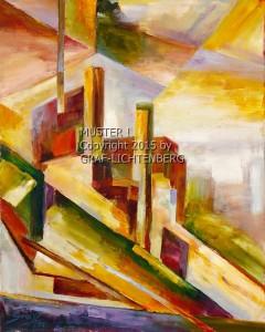 0070 Burg Rheinstein Kubistisch 40 x 50